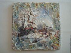 """Купить Фреска """"Зимняя"""" 2 - голубой, фреска, панно на стену, подарок, подарок на любой случай"""