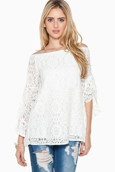 ShopSosie Style : Annabella Lace Top in White $46