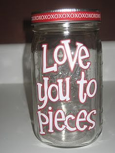 valentine's jar (filled with reece's pieces)