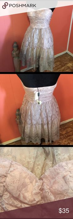 Sara Boo Pink Ombré Lace overlay Dress Size M Sweet and lovely Strapless ombré Lace overlay dress. NWT!   Lace is gathered over bodice and has ruffle at hem.  Hand wash. Sara Boo Dresses Prom