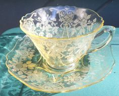 Cambridge Depression Glass Canary Yellow Etched Apple Blossom Cup & Saucer Set #Cambridge