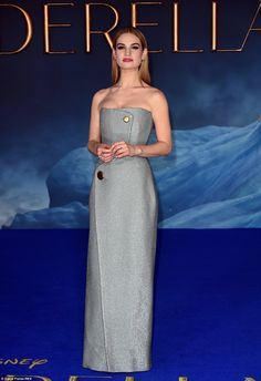 Lily James sparkles in thigh high split gown at Cinderella UK premiere #dailymail
