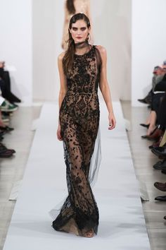 sheer nude dress with black lace overlay, Oscar de la Renta Fall 2013