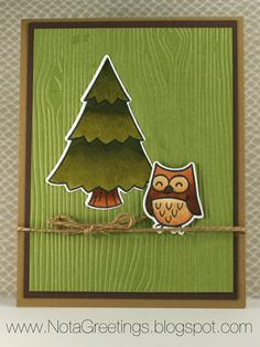 """""""Hooting Hello""""- Copic, Lawn Fawn, Critters in the Forest, Woodgrain, Twine, Baked Brown Sugar, Old Olive, Chocolate Chip, Owl. Handstamped Greeting Card, Papercrafting, Stampin' Up, By Nota Greetings"""