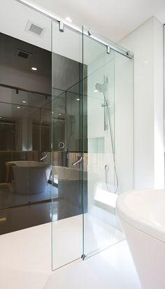 The Inline Slider Frameless Shower Screen Cheap Shower Doors, Coastal Shower Doors, Bathroom Wall Decor, Bathroom Interior Design, Modern Bathroom, Bathroom Ideas, Interior Decorating, Hells Kitchen, Bad Inspiration