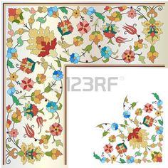 ISLAMIC BORDER: Ornamento y diseño otomano artes decorativas Vectores