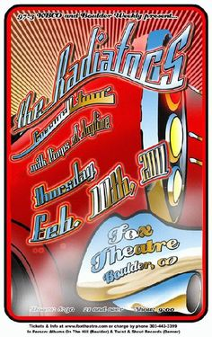 Concert poster for The Radiators at The Fox Theatre in Boulder, CO in 2011. 11x17 card stock. Art by Mark Serlo.