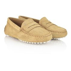 Tods Beige Suede Moccasin Shoes