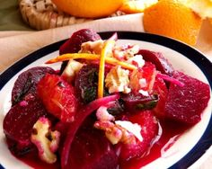 Roasted Organic Beet Salad with Oranges and Beet Greens