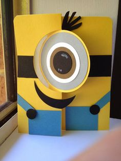 Stampin' up - Minion Card! Flip Cards, Folded Cards, Cute Cards, Kids Cards, Baby Cards, Minion Card, Swing Card, Punch Art Cards, Kids Birthday Cards