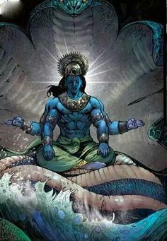 this is Vishnu a major god in the Hindu religion Lord Shiva Painting, Krishna Painting, Indian Gods, Indian Art, Arte Krishna, Krishna Radha, Lord Vishnu Wallpapers, Shiva Wallpaper, Lord Krishna Images