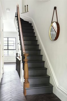 Indoor/Outdoor Living, Brooklyn-Style Staircase white-wood-anthracite Conceivable the other way roun Black Staircase, Wood Staircase, Staircase Design, Black Banister, Tile Stairs, Concrete Stairs, Paint Stairs, Stairway Paint Ideas, Painting Wooden Stairs
