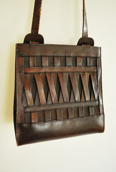1970's Woven Leather Purse Brown Boho Bag by GoodSoulVintageMI
