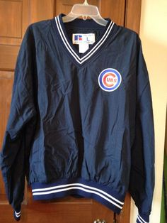Chicago Cubs L Russell Nylon Pullover Rain Coat Lined Navy Jacket Side Zipper #RussellAthletic #Pullover