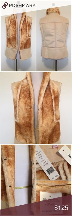 🆕R&J Couture Cognac Faux Shearling & Fur Vest Absolutely gorgeous and chic cognac/beige faux fur and shearling vest by Romeo and Juliet Couture. Triple hook and eye closure. Collar can pull up to keep neck warm. Very soft, warm and cozy. Brand new with tags. Size M. ❌NO TRADES ❌NO LOWBALLING❌ Romeo & Juliet Couture Jackets & Coats Vests