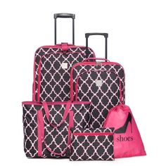 New Directions Black 5-Piece Luggage Set - Pink Black Trellis ($90) ❤ liked on Polyvore featuring bags, luggage and black