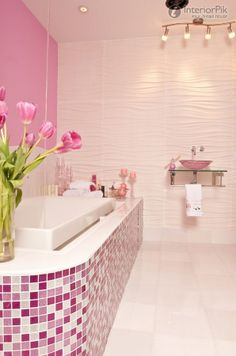 Love the tile. Different color though this is too pink