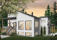 Discover the plan 1709 - Billy from the Drummond House Plans house collection. Small modern house plan for corner lot, master suite, open space, huge windows, panoramic view. Total living area of 1141 sqft. Small Modern House Plans, Modern Floor Plans, Contemporary House Plans, Best House Plans, Modern House Design, Contemporary Style, Plan Chalet, Drummond House Plans, Open Concept Floor Plans