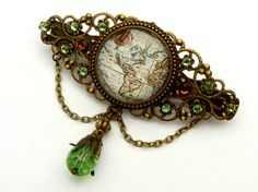 Noble Barrette in Antique style with world map Map by Schmucktruhe