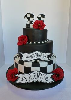 Black and White Birthday Cake. Cakefoto was brought by client to make a three tier instead of as was on picture. The original cake was for Kylie Jenner Kardashian birthday. made by Hansen's Cakes in USA. Sweet 16 Party Themes, Sweet 16 Parties, White Birthday Cakes, 16th Birthday, Sweet 16 Cakes, A Little Party, Confectionery, Cake Art, Amazing Cakes