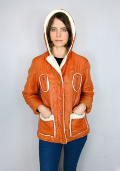 Amazing Orange Fur Lined 70's Jacket by asecretshop on Etsy, $38.00