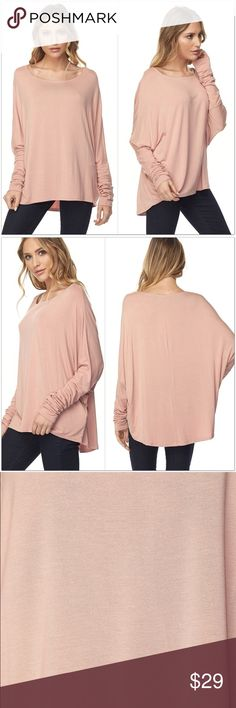 """Dusty Rose LS Top Dusty Rose colored, long sleeve, pullover top.  •Dolman Sleeves •Slight Hi/ Low Style •95% Bamboo 5% Spandex  S:  Bust: 44""""  Length: 23/26"""" M: Bust: 48""""  Length: 24/27"""" L:  Bust: 52""""  Length: 25/28""""  #EM731250  ❗Price is firm unless bundled❗️ Tops"""