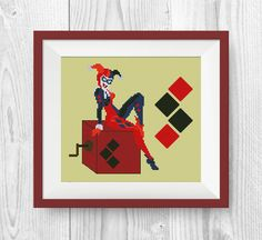 BUY 2, GET 1 FREE! Suicide Squad cross stitch pattern, Harley Quinn cross stitch pattern, modern cross stitch pattern, pdf counted, P222 by NataliNeedlework on Etsy
