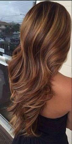 Love this dark brown hair with caramel highlights by Raelynn8