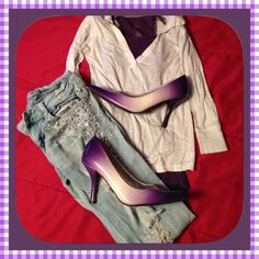 """Purple heels Cute 4"""" purple and white heels. Scuffing on left toes and on back of the shoe. A few other marks on them also. But not extremely noticeable. Any questions just ask. New listing as of 9-22-15 Wild Diva Shoes Heels"""