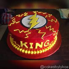 the flash birthday cake Flash Birthday Cake, 4th Birthday, The Flash, Desserts, Image, Food, Cake Ideas, Tailgate Desserts, Fourth Birthday