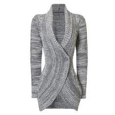 Stylish Long Sleeve Shawl Collar Slimming Women s Cable Cardigan 88de35c6d