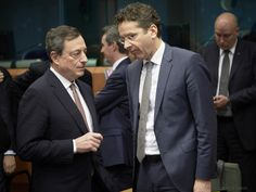 Eurogroup meeting - March 2015. The 19 Eurozone finance ministers meet on 9 March 2015 in Brussels. The President of ECB Mario Draghi (on the left) participates regularly in these meetings. In this instance he talks with the Jeroen Dijsselbloem, President of the Eurogroup. (European Council - Council of the European Union Photographic Library, 9/3/2015).