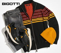 Whole piece or accents, the vibrant colours will instantly add flair to the everyday outfits, enhancing the cool and energy of your look. Buy now your favourite pieces and accessories in our stores or on www.bigotti.ro! #Bigottiromania #Romania #ootdmen #mensfashion #menswear #mensstyle #casual #casualfashion #colours #accentcolours #mixandmatch #stilmasculin #pulovere #fermoar #tricotaje #knitwear #zipsweaters #jeans #sneakers #moda #barbati #hainebarbati Mens Attire, Stylish Men, Everyday Outfits, Wardrobes, Knitwear, Men's Fashion, Fall Winter, Christmas Gifts, Bomber Jacket