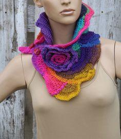 Rainbow  crochet scarf Crochet  cowl  Unique Capelet  by Degra2