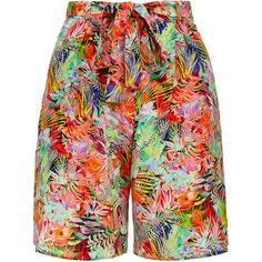 Saloni Loretta Jungle Print Silk Shorts (€135) found on Polyvore featuring shorts, multicolour, tie belt, loose fit shorts, patterned shorts, print shorts and silk shorts