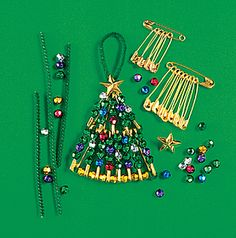 Christmas Tree Beaded Pin
