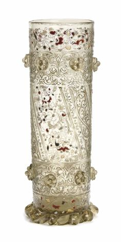 ART NOUVEAU ~ FRENCH ETCHED AND ENAMELED GLASS VASE, GALLE, CIRCA 1895