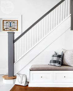 Beautiful Painted Staircase Ideas for Your Home Design Inspiration. see more ideas: staircase light, painted staircase ideas, lighting stairways ideas, led loght for stairways. Painted Stair Railings, Painted Staircases, Staircase Railings, Staircase Design, Staircase Ideas, Bannister Ideas Painted, Banisters, Dark Staircase, Painted Stairs