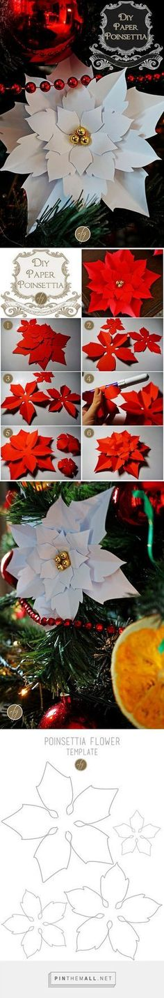 DIY Paper Poinsettia {Free Template} | Carta, forbici, gatto - created via https://pinthemall.net