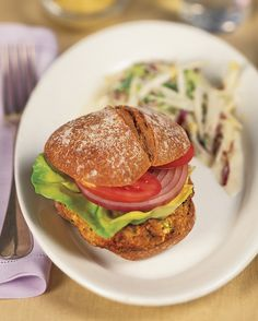 This vegetarian burger gets its meaty texture from brown rice and tofu.