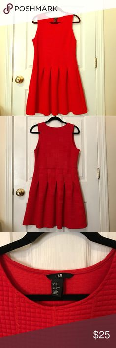 H&M quilted dress M Cherry red quilted skater dress. Never worn, falls above the knee. H&M Dresses Mini
