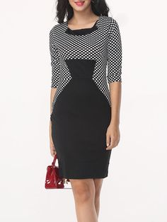 Round Neck Dacron Plaid Bodycon Dress - fashionmeshop.com