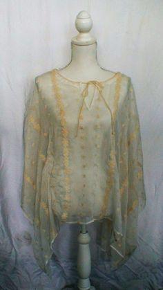 MYSTREE Sheer Gypsy Embroidered BOHO Swimwear Cover Up OSFM #MYSTREE #CoverUp