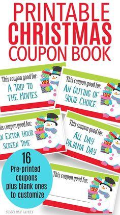 Free Printable Christmas Coupon Book For Kids  Coupons Books And