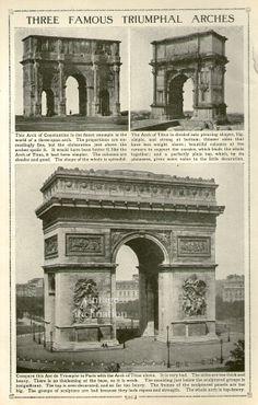 Antique Print, Paris ARC DE TRIOMPHE , chart 1910 wall art vintage b/w classical architecture lithograph illustration France print