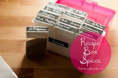 Recipe Box Spices:  Easy way to organize spices.  Perfect to save space in the bear box when we camp in bear country.