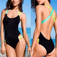 Cross Backless Fluorescent Strap Monokini One Piece Swimwear