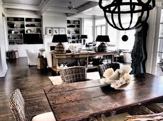 rustic wood and wicker dining