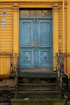 Blue door Trondheim, Norway.