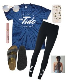 """catching flights not felelings💜"" by abbyveith on Polyvore featuring adidas Originals, Birkenstock, Sonix, Ray-Ban and L'Oréal Paris"